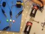 A set of older LEDs being tested before making traffic lights. These are gradually being replaced with coloured LEDs with clear lens' to add an element of mystery.